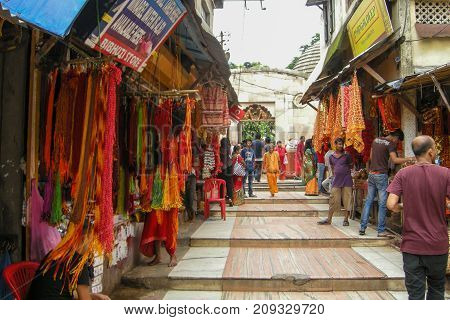 GUWAHATI ASSAM INDIA - JULY 4 2014 : Hindu devotees at Kamakhya Temple or Kamrup-Kamakhya temple dedicated to the mother goddess Kamakhya. It is famous Hindu religious destination.