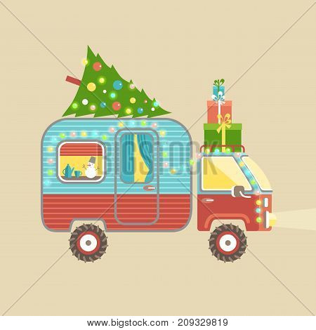 Mobile recreation. House on wheels. Transport trailer vector with the christmas tree and gift boxes, holiday decorations, garland. Flat style.
