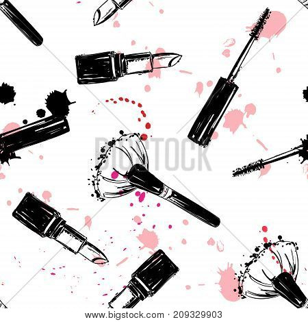 Seamless Makeup Cosmetics Pattern. Vector Hand Drawn Graphic Fashion Illustration: Brush, Makeup Bru