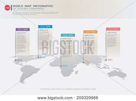 World map Infographic template, Five steps with pointer marks, Communicates data through charts, graphs, Make facts and statistics more interesting, Make data-driven arguments easier to understand.