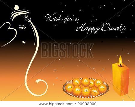 wish you a happy diwali card, vector wallpaper