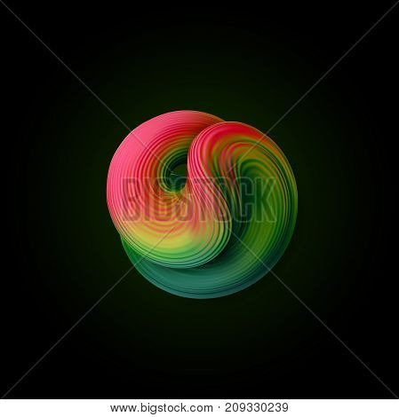 Abstract vector 3d squeezed liquid shape. Multicolored twisted viscous substance. Flowing cyan bubble. Cover, banner or poster design element