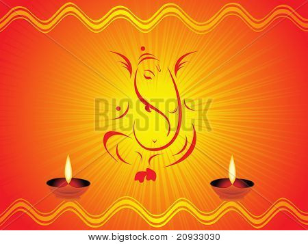 abstract shiny rays background with vinayak, diya