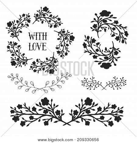 Floral design elements set, frames and borders. Vector decorative elements. Can use for birthday card, wedding invitations, prints, holidays decorations