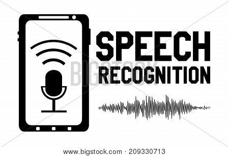 Speech recognition logo design element with microphone sign smartphone and sound wave form signal. Vector illustration.
