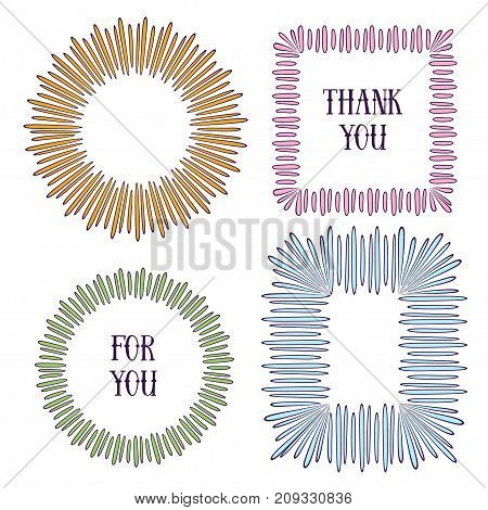 Creative frames set. Vector decorative elements. Can use for birthday card, wedding invitations, holiday decorations