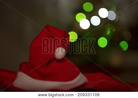 santa claus hat with background and lights
