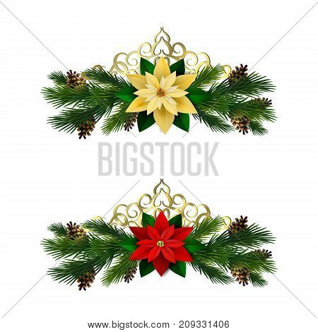 Christmas decoration set with evergreen treess pine cones and poinsettia and golden swirls isolated vector