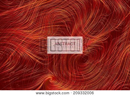 Abstract artistic red background with curled hairy lines. Vector creative illustration. Swirled silky pattern. Diffusive hairy texture imitation. Chaotic curls decorative pattern