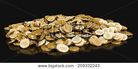 3d Illustration. Golden bitcoin. Image with clipping path