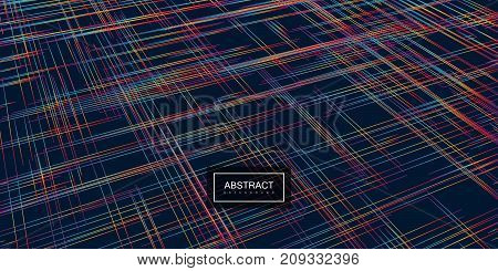 Vector abstract linear background. Vector geometric art illustration. Contemporary pattern with rainbow lines. Chaotic iridescent crossing lines in perspective