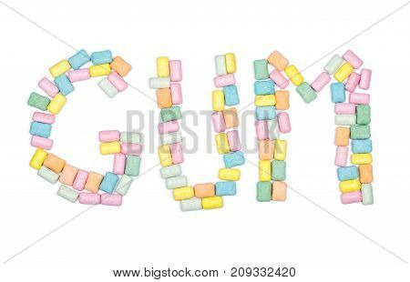 Word Gum Written With Chewing Gum