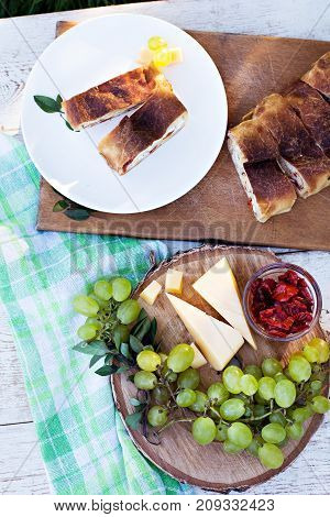 Strudel With Cheese And Sun-dried Tomatoes.