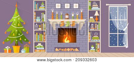 New Year and Christmas interior with a fireplace and a Christmas tree. Vector illustration. Card.