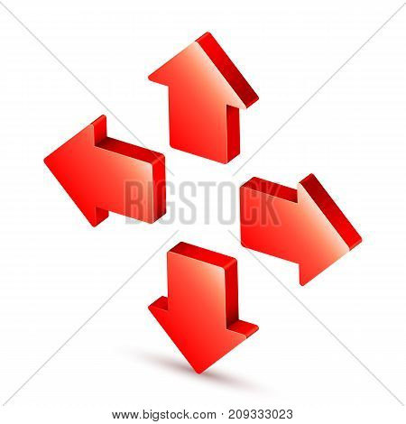 Red 3d arrow icon isolated on white background