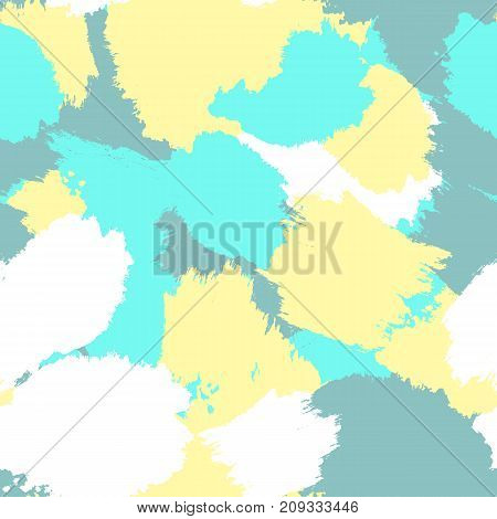 Seamless pattern with colored brush strokes of a watercolor brush. Grunge sketch paint. Blue yellow white turquoise colour. Vector illustration.