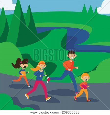 Happy family running in park. Square cartoon illustration in bright colors