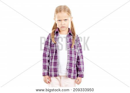 Portrait of little blonde girl in checked shirt on white background