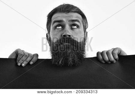 Surprised Bearded Man Hipster With Red Paper Isolated On White