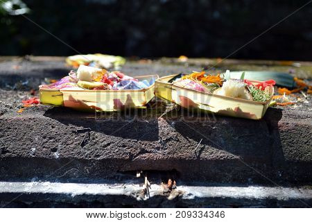 The Offering Made At One Temple In Bali, Indonesia. It's Called
