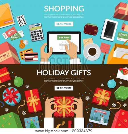 Online shopping. Preparing for holidays. Wrapping of Christmas gifts and greeting cards. Concept banners in flat style. Top view at the desktop. Vector illustration