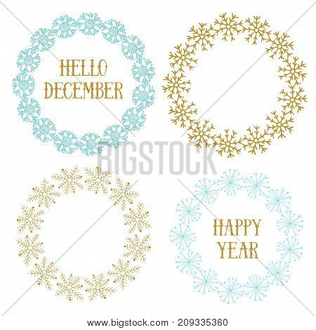 Cute New Year decorative frame set. Vector for banners, greeting and invitation cards, covers. Christmas decorative elements with snowflakes in blue and gold colors
