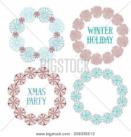 Cute New Year decorative frame set. Vector for banners, greeting and invitation cards, covers. Christmas decorative elements with snowflakes in blue and red colors