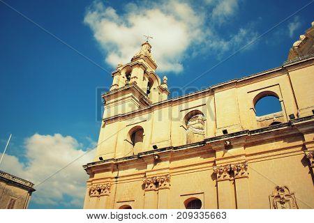 Saint Paul's Cathedral designed by the architect Lorenzo Gafa in Mdina, Malta .