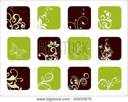 abstract floral pattern business icon illustration