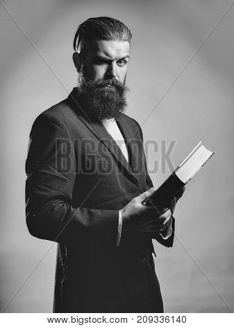Bearded Handsome Man With Book