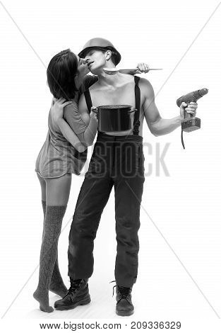 Household Couple Of Muscular Man And Woman Holds Pot, Drill
