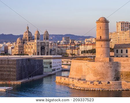 MARSEILLE FRANCE - AUGUST 07 2017: Saint Jean Castle and Cathedral de la Major and the Vieux port in Marseille France