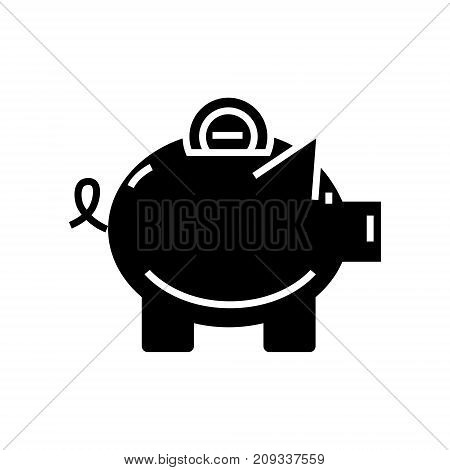 piggy icon, illustration, vector sign on isolated background