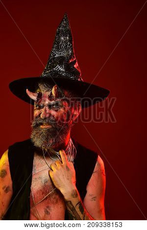 Halloween Man With Satan Horns In Witch Hat On Head