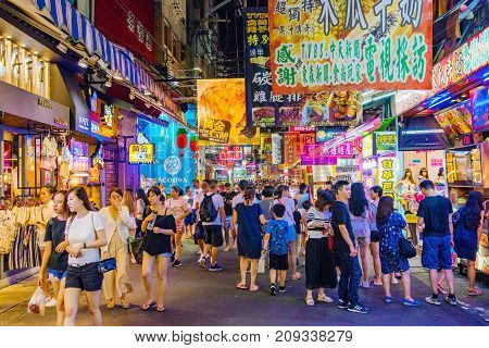 TAICHUNG TAIWAN - JULY 18: This is a street in Fengjia night market the largest night market in Taiwan which is popular with tourits and locals on July 18 2017 in Taichung
