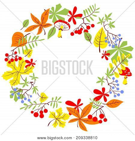 Fall season wreath. Autumn border with bright leaves rowan and grape. Vector seasonal round frame. Background for seasonal cards.