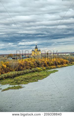 View of river Oka in Nizhny Novgorod, Russia with banks and cathedral of St. Alexander Nevskiy on background