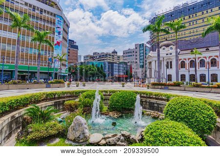 TAICHUNG TAIWAN - JULY 18: This is the traditional architecture outside the the old City Hall building a famous historic landmark in the downtown district on July 18 2017 in Taichung