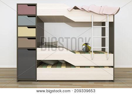 Realistic 3D rendering. Modern Kids' Bedroom Furniture Design. Functional Childrens Bed in Light Interior. Triple bed idea.