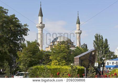 Evpatoria, Republic of Crimea, Russia - July 19, 2017: View of the Juma-Jami Mosque in the resort town of Evpatoria