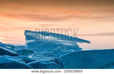 Field of ice hummocks on the frozen Lake Baikal. russia
