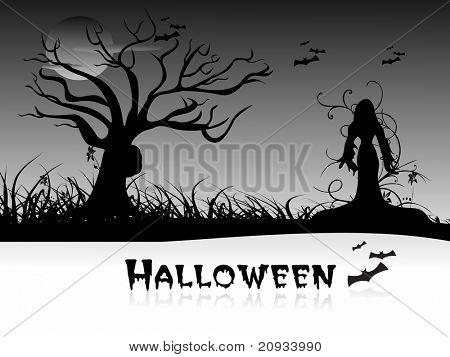 abstract garden pattern halloween background, vector illustration