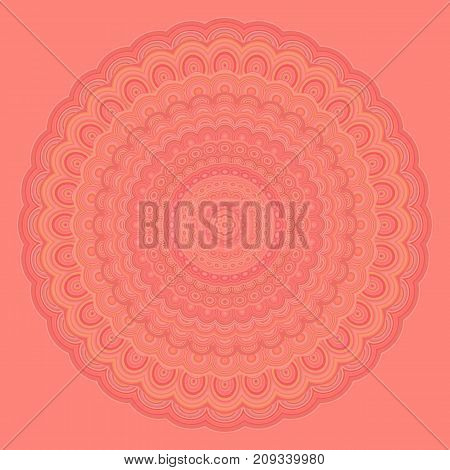 Bohemian mandala fractal background - round symmetry vector pattern graphic from concentric oval shapes