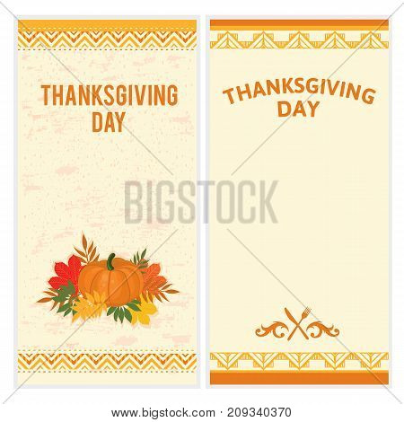 Vector set of hipster Thanksgiving Day backgrounds in brown and orange. Great for menu, invitation or shopping list templates
