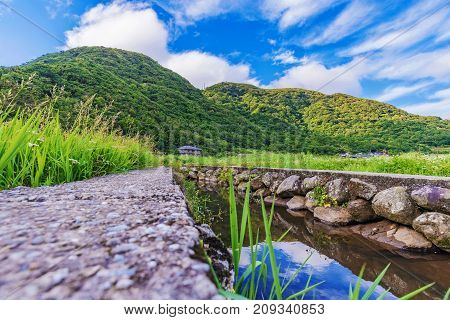 Scenic view of a stream in a rural farming setting