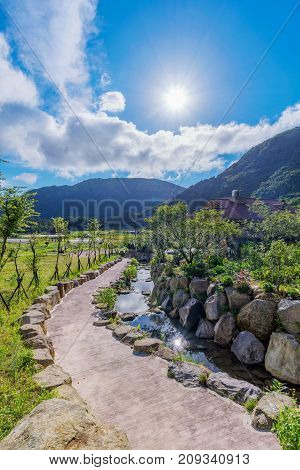 Scenic view of countryside on a sunny day in Taiwan