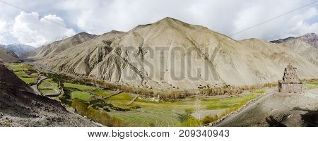Panorama Of Stock La Valley In Ladak, Jammu And Kashmir, India, With Buddhist Shrine Looking Over A
