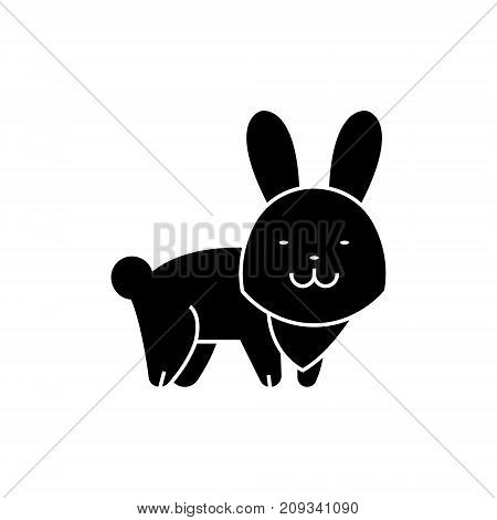 rabbit cute icon, illustration, vector sign on isolated background