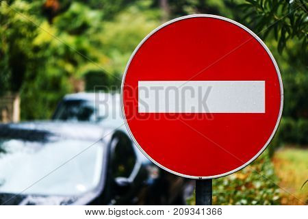 No entry or Wrong way prohibitory traffic sign on the street