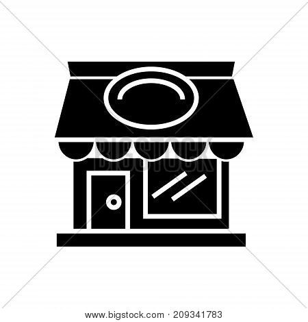 restaurant building icon, illustration, vector sign on isolated background